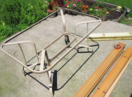 broken glass top patio table redone