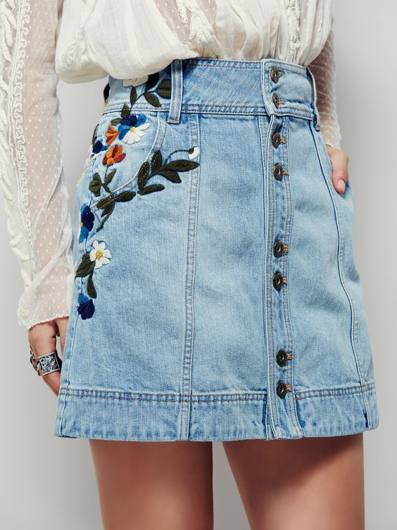 Embroidered Jean Skirt 96