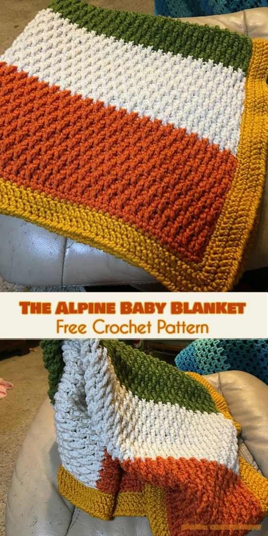 The Alpine Baby Blanket Free Crochet Pattern #freecrochetpatterns #crochetblanket #babyblanket