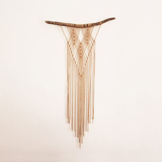 "Macrame wall hanging ""BETSY"". Wall art, wall décor, modern macrame, medium size, openwork, spider's web, terracotta, airy."