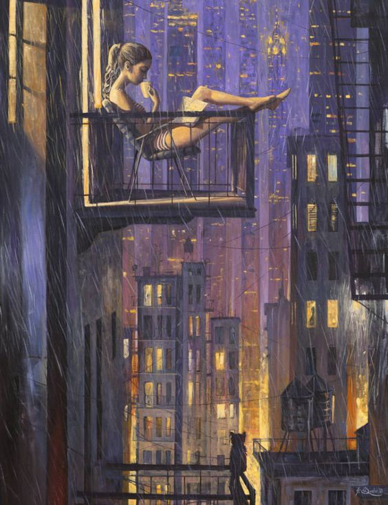 Sitting in the Rain | Girl sitting in a rainy city. Click through to see more about this idea in a video on YouTube. #city #art #water #rain #girl #cat #night #outside