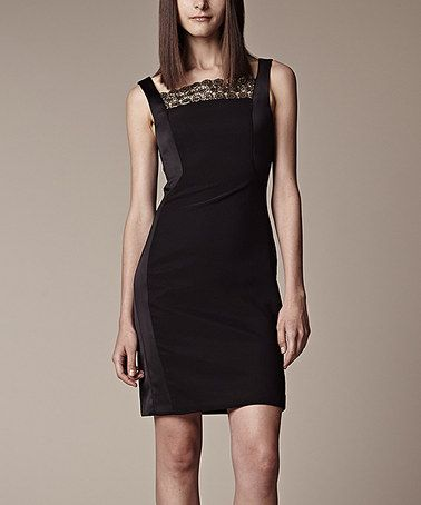 Another great find on #zulily! Black & Gold Square-Neck Sleeveless Dress by Julia Jordan #zulilyfinds