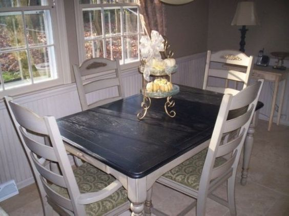Black and white upcycled dining table black white for Upcycled dining table