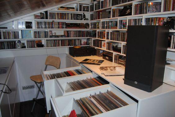Mueble cds y vinilos biblioteca vinilos pinterest - Vinilos decorativos para muebles ...