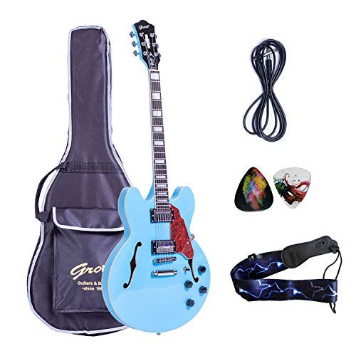 2019 New Product Grote Brand Electric Guitar Semi Hollow Body With Guitar Gig Bag Miami Blue Electric Guitar Playing Guitar Learn Guitar