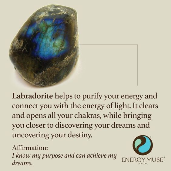 Labradorite helps to purify your energy and connect you with the energy of light. It clears and opens all your chakras, while bringing you closer to discovering your dreams and uncovering your destiny. #labradorite #healing #crystals