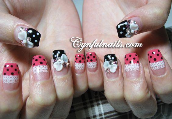 polka dots, lace & 3D bows nail art