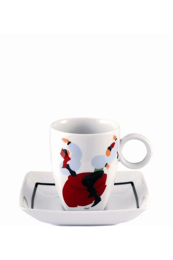 """The whimsical Piló Dancing Couple Cup and Saucer when filled with your favorite coffee beverage,will awaken and inspire you for the day while putting a smile on your face. Fine Premium Porcelain - Height: 2.44"""" Diameter: 3.82"""" Capacity: 2.43oz - Only $22.95 - 6 to choose from"""