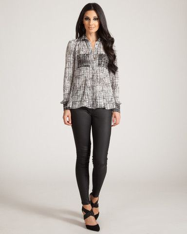 JAGGAR HERRON BLACK & WHITE BLOUSE available on shopfashtique.com