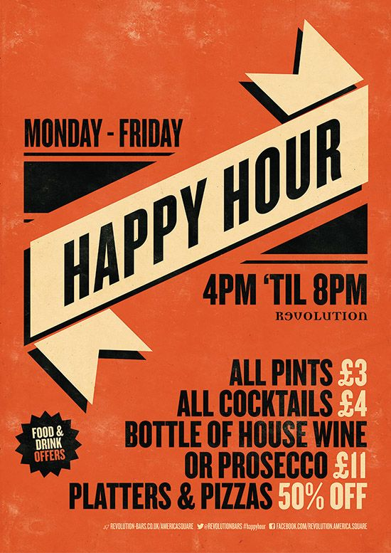 Happy Hour Graphic Design Poster For Revolution Bars By