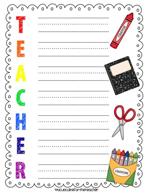 Teacher Acrostic Poem Template | Language Arts | Pinterest | Barn ...