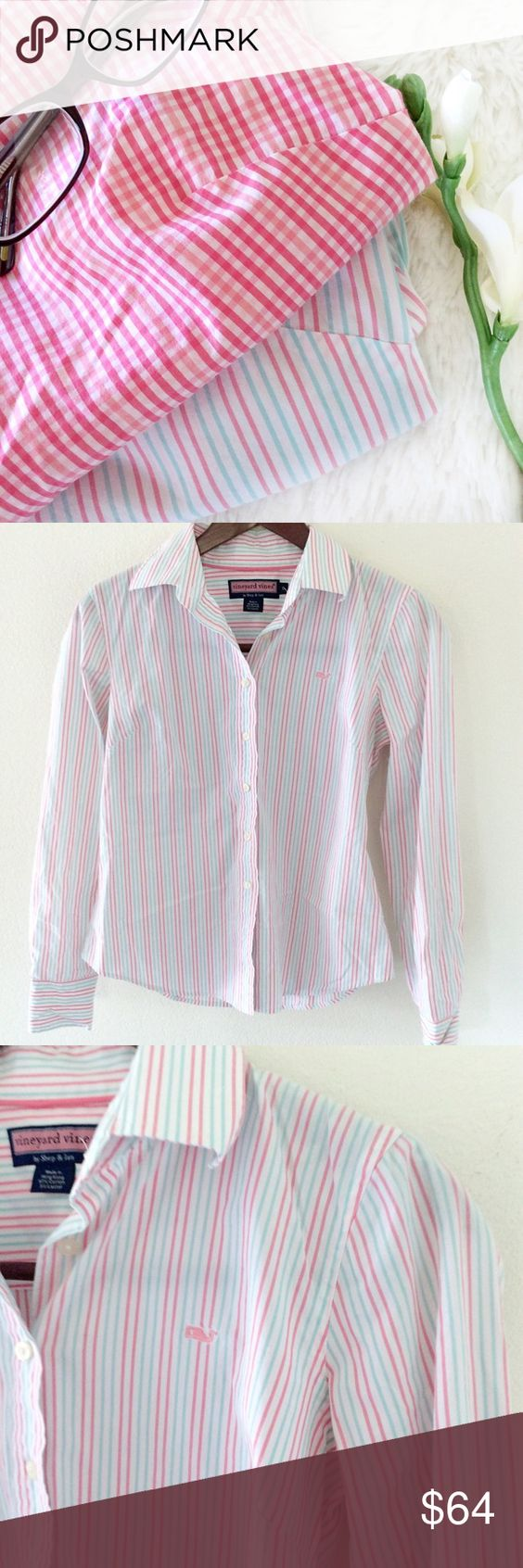 NWOT🔸Vineyard Vines Button Down •Vineyard Vines •NWOT •In cover photo it's the bottom shirt(you can see colors better in cover photo) Size: small  •Please see all pics, read description, and ask questions before purchasing   •No Trades• •15% off 2+ Bundle• Vineyard Vines Tops Button Down Shirts