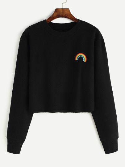Shop Black Rainbow Embroidered Crop Sweatshirt online. SheIn offers Black Rainbow Embroidered Crop Sweatshirt & more to fit your fashionable needs.