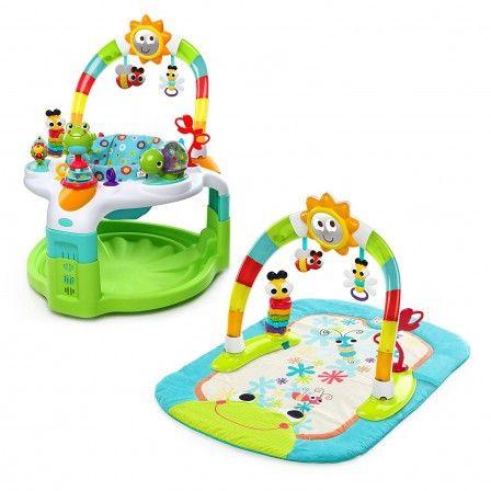 cadeau d'eveil 2 en 1 pour bébé : tapis de jeux avec arche et siège découverte pour jouer
