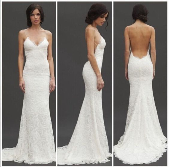 details about new sex lace wedding dress low back