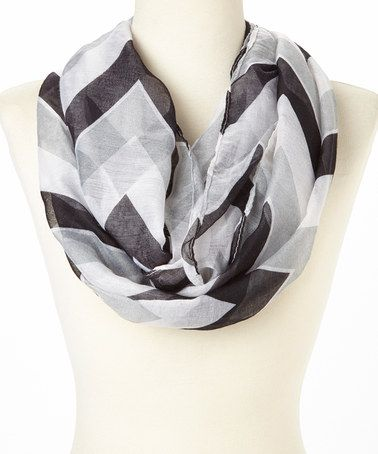 Another great find on #zulily! Black & Gray Zigzag Infinity Scarf #zulilyfinds