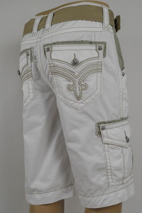 Details about Rock Revival Jeans 2016 Mens Cargo Shorts White w