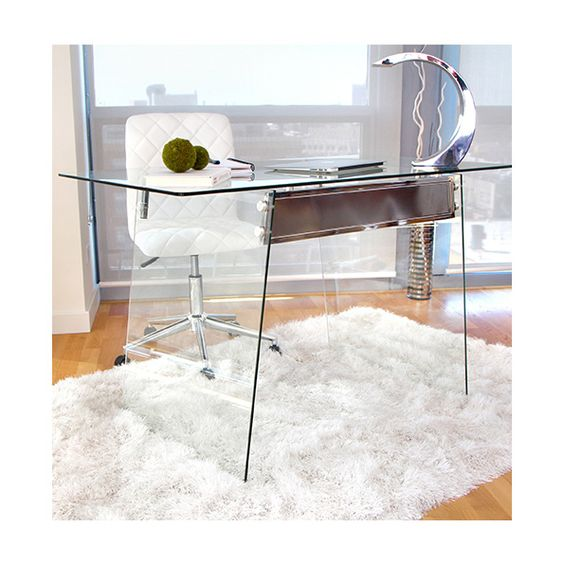 Gibson Contemporary Glass Desk Unique Modern Glass Desk | Stainless Steel Accents | Perfect for ...