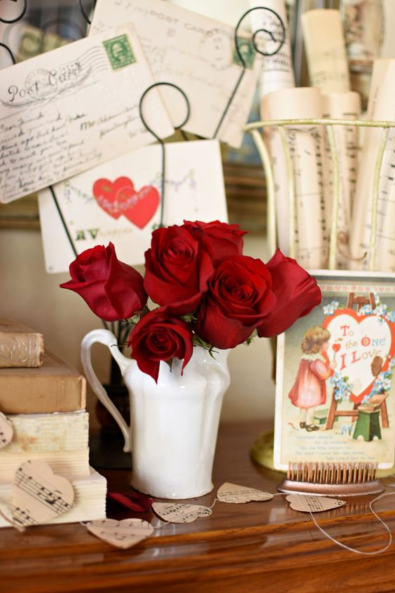 Valentine's Day Red Roses Vintage Valentine postcards