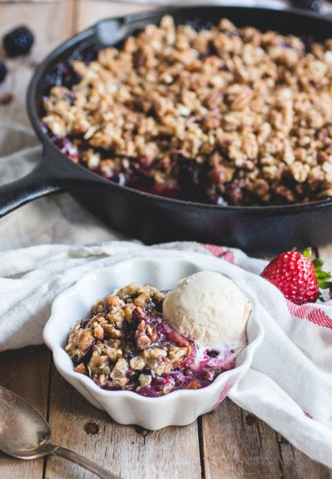 berry crisp with oatmeal cookie crumble.