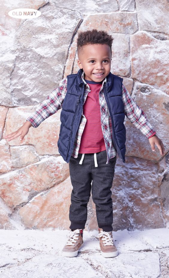 So. Adorable. Get your little man winter-ready in a Frost-Free puffer vest, red-and-white plaid shirt, and grey jersey pants.