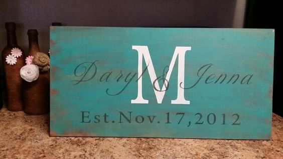 Family monogrammed established sign. made by Taryn Mackey from 'Country at Heart'