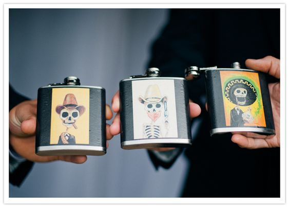 Day of the Dead wedding flasks for your groomsmen