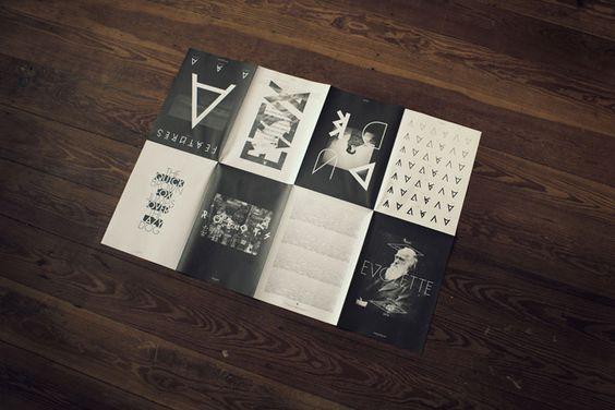 Dobradura com faces / páginas, mosaico mega preto e branco funciona.