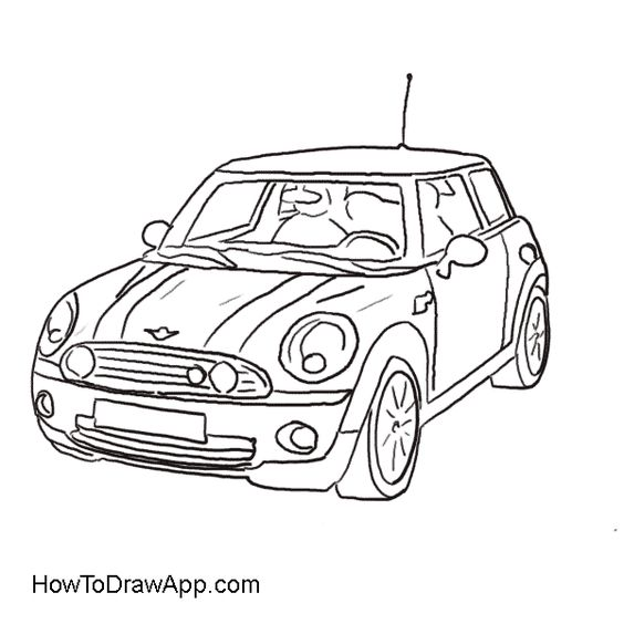 cartoon cars drawings from the side images pictures person driving mini cooper