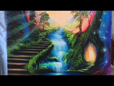 Acrylic Painting Time Lapse Fairytale Fantasy Art Youtube Fantasy Paintings Fantasy Landscape Landscape Paintings Acrylic