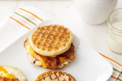 Waffle Breakfast Sandwiches with Spicy Maple Butter