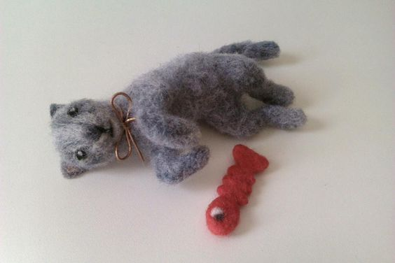 Needle felted Russian Blue.