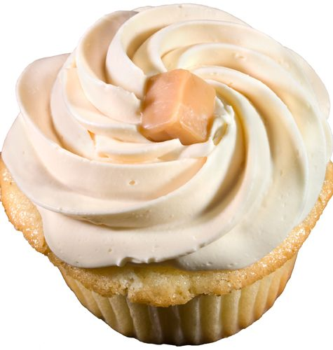 Caramel Cubed-Dense caramel cupcake filled with caramel and topped with caramel buttercream
