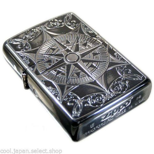 Zippo-Lighter-Classical-Compass-2-Both-Sides-Etching-Antique-Silver-Japan-New