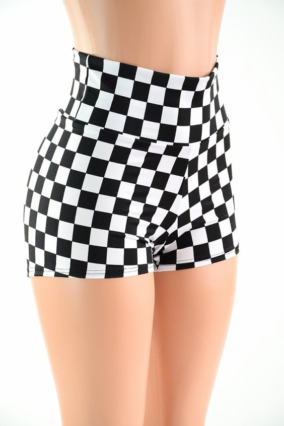 Black & White Checkered High Waist Shorts Festival Rave Hoop Dance ...
