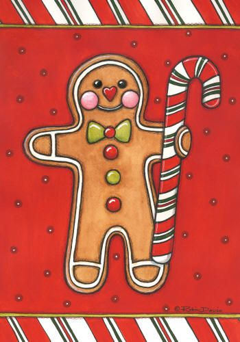 Gingerbread man with candy cane; by Robin Davis
