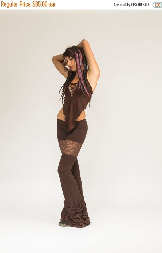 BROWN RUFFLE PANTS, bell bottoms, lycra bell bottoms, lace flares, boho chic, gypsy pants, movement clothing