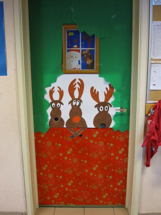 D coration porte noel maternelle for Decoration porte noel ecole