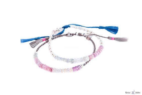 Sapphire Stones Bracelet with Silver Beads  or a Nylon Bracelet ended with Two Pompons  (Various colors):
