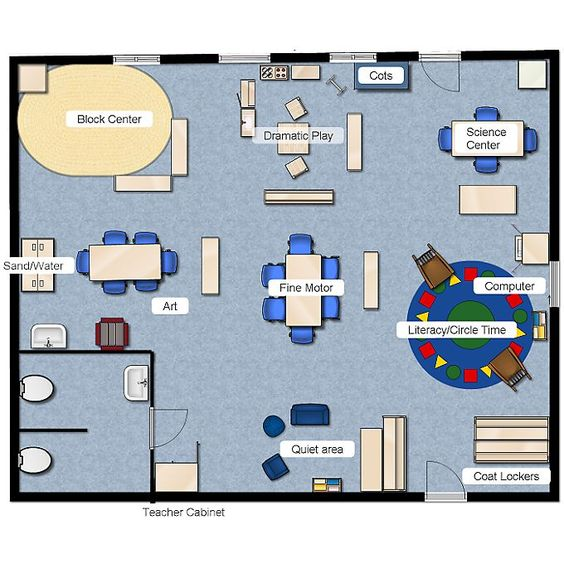 Preschool class layout classroom layout pinterest for Small daycare floor plans