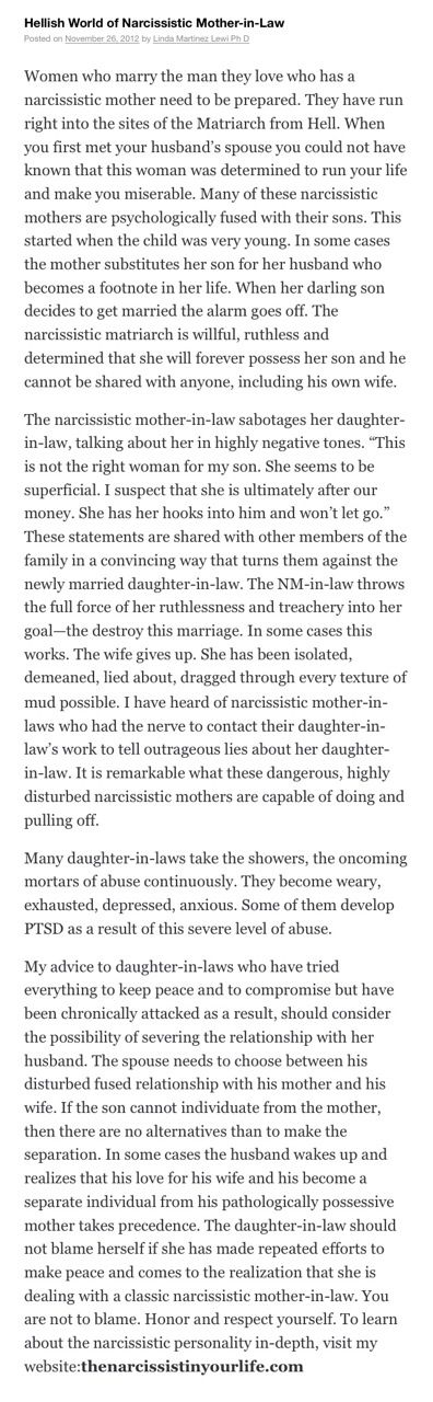 Hellish world of narcissistic Mother-In-Law (this applies to Fathers-In-Law with their sons-in-law too)
