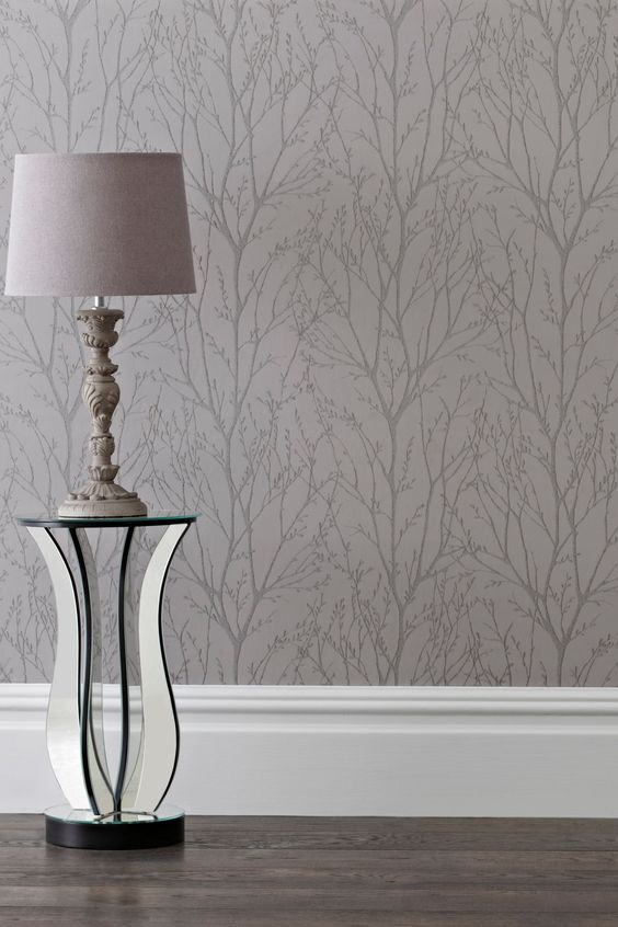 Buy pewter twigs wallpaper from the next uk online shop for Wallpaper next home