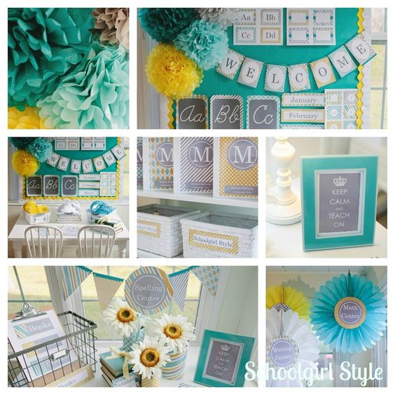 Turquoise Classroom Decor ~ Sunny skies turquoise gray yellow classroom theme from