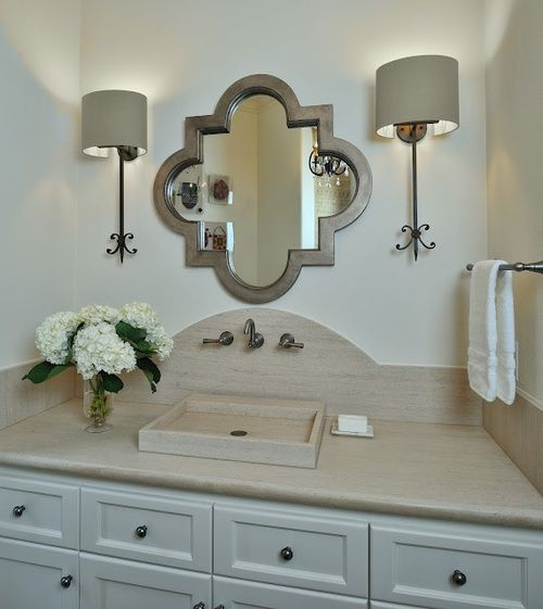 Bathroom design trend #5:Curves! I love acurvy backsplash, especially in  a traditional bathroom!