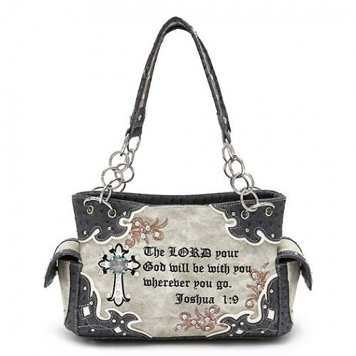 Western Style Concealed Carry Handbag With Cross Scripture Quote