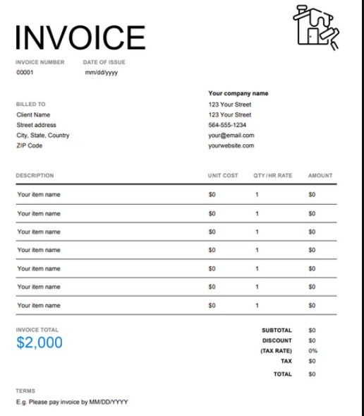 Painting Contractor Invoice House Painting Invoice Example Painting Contractors Invoice Example House Painting