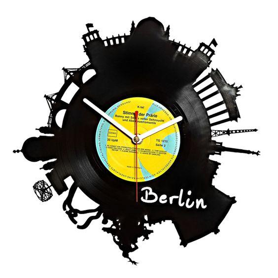 Schallplattenuhr Wanduhr BERLIN Skyline von citybomb auf DaWanda.com