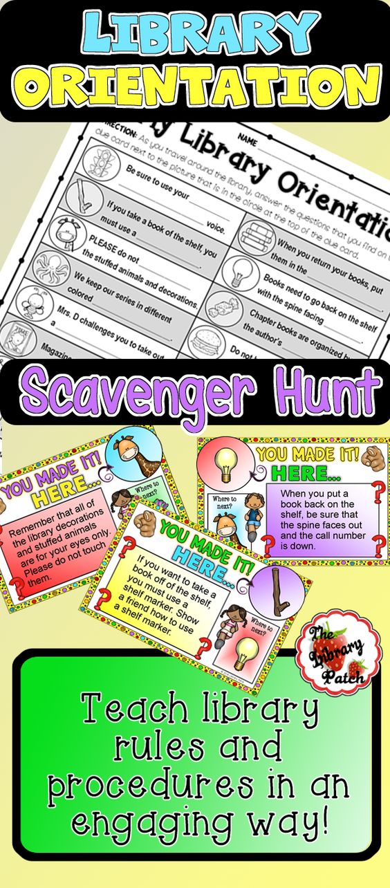 $ But CAN EDIT - Engage your students in a FUN review of library rules and procedures with this scavenger hunt created by The Library Patch.
