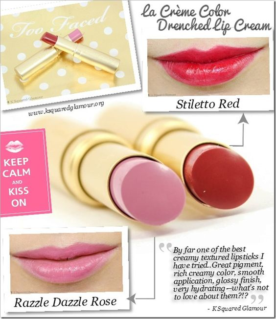 By far one of the best creamy textured lipsticks I have tried thus far are the Too Faced Cosmetics La Crème Color Drenched Lip Creams! Great pigment, rich creamy color, smooth application, glossy finish, very hydrating—what's not to love about them?!?  See @K Squared Glamour full review at ksquaredglamour.org #beauty #lipstick #lips #beautyblogger #bbloggers #toofaced