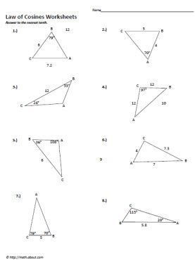 Ambiguous Case of Law of Sines Worksheet (pdf) with answer key ...